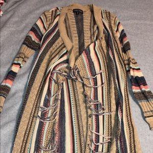 long multicolored cardigan